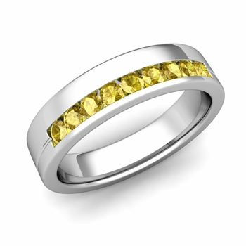 Channel Set Mens Comfort Fit Yellow Sapphire Wedding Band in Platinum, 5mm