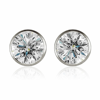 Diamond Earrings in 14k White Gold Bezel Set G, SI1, 0.50 cttw