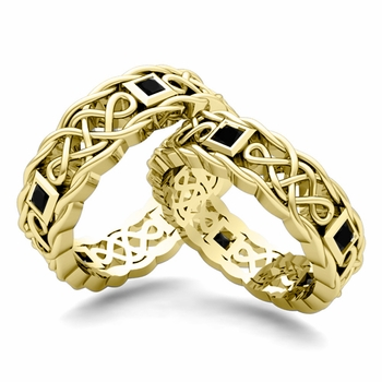 Matching Celtic Knot Wedding Band in 18k Gold Black Diamond Wedding Ring