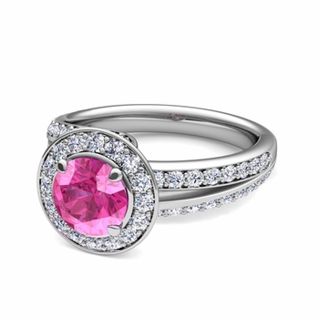 Wave Diamond and Pink Sapphire Halo Engagement Ring in 14k Gold, 5mm