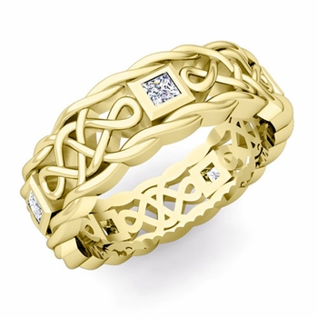 Princess Cut Diamond Ring in 18k Gold Celtic Knot Wedding Band, 7mm