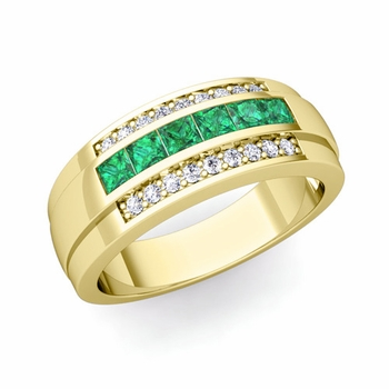 Princess Cut Emerald and Diamond Mens Wedding Band in 18k Gold, 8mm