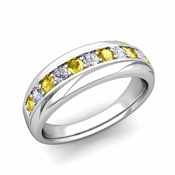 Brilliant Diamond and Yellow Sapphire Wedding Ring Band in Platinum, 6mm