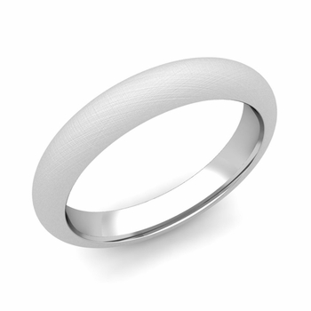 Dome Comfort Fit Wedding Band in 14k White or Yellow Gold, Mixed Brush, 4mm