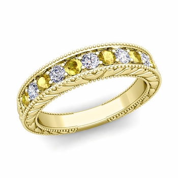 Vintage Inspired Diamond and Yellow Sapphire Wedding Ring Band in 18k Gold