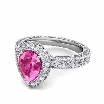 Milgrain Pear Shaped Pink Sapphire and Diamond Engagement Ring in Platinum, 7x5mm