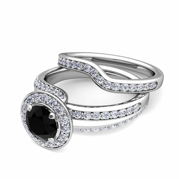 Wave Black and White Diamond Engagement Ring Bridal Set in 14k Gold, 7mm