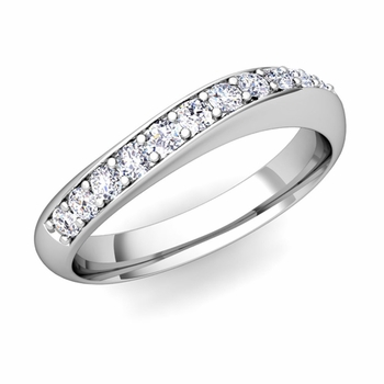 Curved Diamond Wedding Ring in Platinum, 4mm