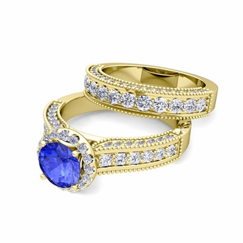 Bridal Set of Heirloom Diamond and Ceylon Sapphire Engagement Wedding Ring in 18k Gold, 7mm