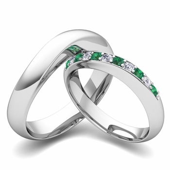 Matching Wedding Band in Platinum Curved Diamond and Emerald Ring