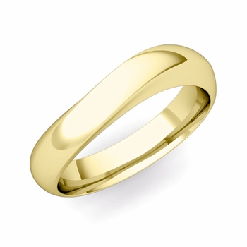 Curved Wedding Band in 18k Gold Polished Finish Comfort Fit Ring, 5mm