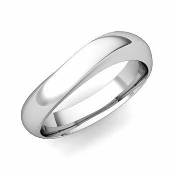 Curved Wedding Band in Platinum Polished Finish Comfort Fit Ring, 5mm