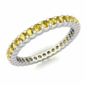 Petite Pave Yellow Sapphire Eternity Ring in 14k Gold