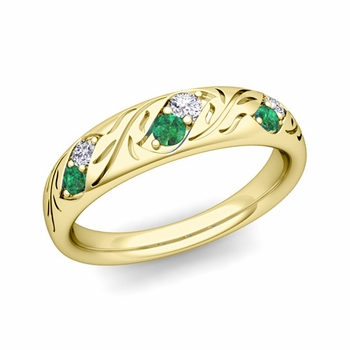 Vintage Inspired Diamond and Emerald Wedding Ring in 18k Gold 3.8mm