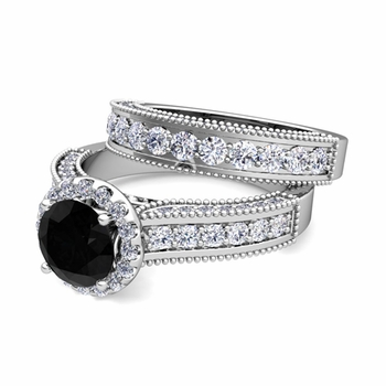 Bridal Set of Heirloom Black and White Diamond Engagement Wedding Ring in Platinum, 6mm