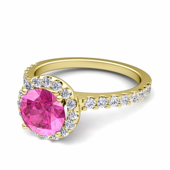 Petite Pave Set Diamond and Pink Sapphire Halo Engagement Ring in 18k Gold, 7mm