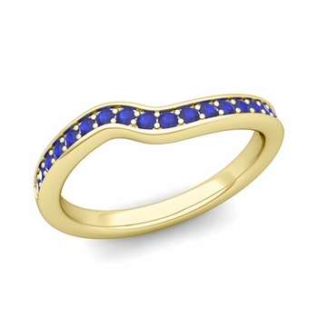 Petite Curved Blue Sapphire Wedding Band Ring in 18k Gold