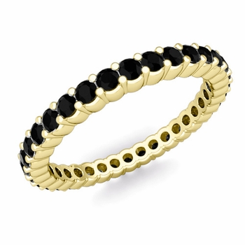 Petite Pave Black Diamond Eternity Ring in 18k Gold