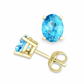 Oval Blue Topaz Stud Earrings in 18k Gold 4 Prong Studs, 8x6mm