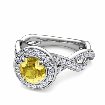 Infinity Diamond and Yellow Sapphire Halo Engagement Ring in Platinum, 7mm