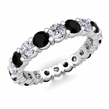 Black and White Diamond Eternity Ring Band in 14k Gold