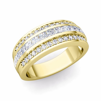 Princess Cut Diamond and Pave Diamond Wedding Ring in 18k Gold, 7mm