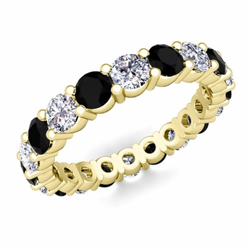 Black and White Diamond Eternity Ring Band in 18k Gold