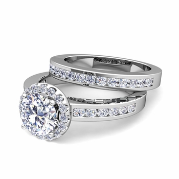 Halo Bridal Set: Channel Set Diamond Engagement Wedding Ring in 14k Gold