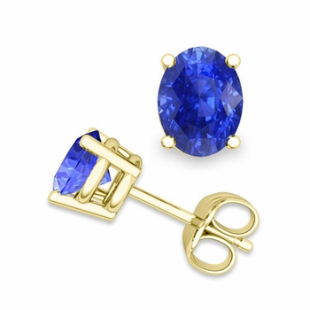 Natural Oval Ceylon Sapphire Stud Earrings in 18k Gold 4 Prong Studs, 7x5mm