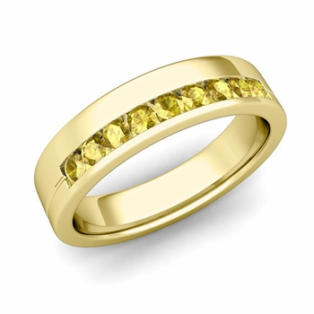 Channel Set Mens Comfort Fit Yellow Sapphire Wedding Band in 18k Gold, 5mm