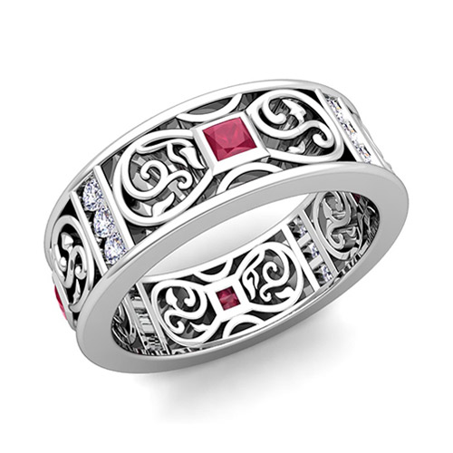 Princess Cut Celtic Ruby Wedding Band Ring For Men In 14k Gold