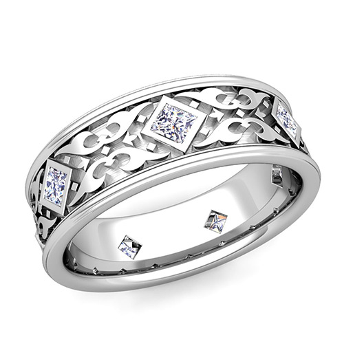 Celtic Wedding Band For Men In Platinum Princess Cut