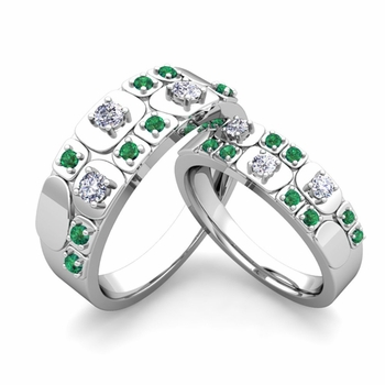 Matching Wedding Ring in Platinum Plaid Diamond and Emerald Wedding Band