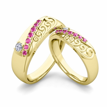 Matching Wedding Band in 18k Gold Unique Diamond Pink Sapphire Wedding Rings