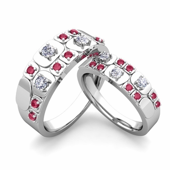 Matching Wedding Ring in Platinum Plaid Diamond and Ruby Wedding Band