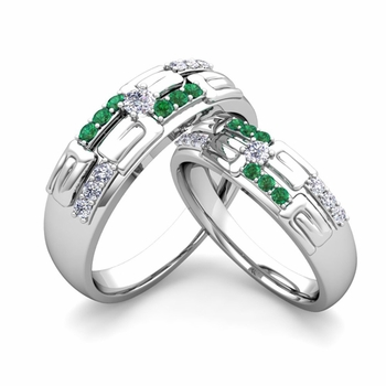 Matching Wedding Ring in 14k Gold Unique Diamond and Emerald Wedding Band