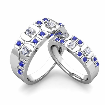 Matching Wedding Ring in 14k Gold Plaid Diamond and Sapphire Wedding Band