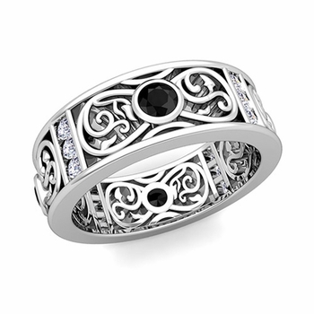 Black and White Diamond Celtic Wedding Band Ring in 14k Gold, 7.5mm