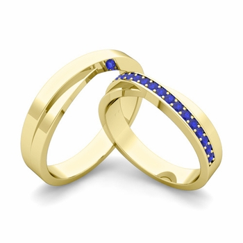 Matching Wedding Bands: Infinity Sapphire Wedding Ring Set in 18k Gold