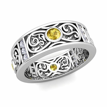 Diamond and Yellow Sapphire Celtic Knot Wedding Band Ring in Platinum, 7.5mm