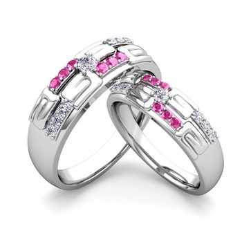 Matching Wedding Ring in 14k Gold Unique Diamond Pink Sapphire Wedding Band