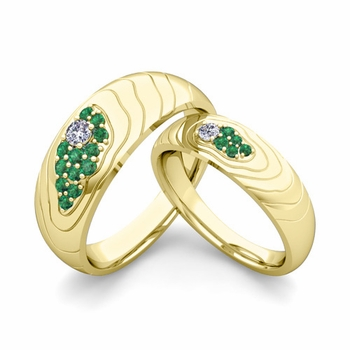 Matching Wedding Ring in 18k Gold Contour Diamond and Emerald Wedding Band