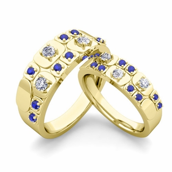 Matching Wedding Ring in 18k Gold Plaid Diamond and Sapphire Wedding Band
