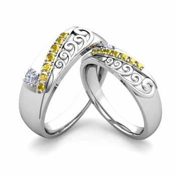 Matching Wedding Band in Platinum Unique Diamond Yellow Sapphire Wedding Rings
