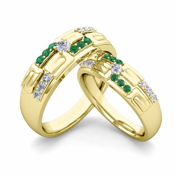 Matching Wedding Ring in 18k Gold Unique Diamond and Emerald Wedding Band