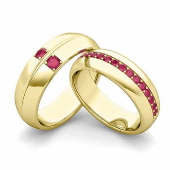 Matching Wedding Ring: Ruby Comfort Fit Wedding Band Set in 18k Gold