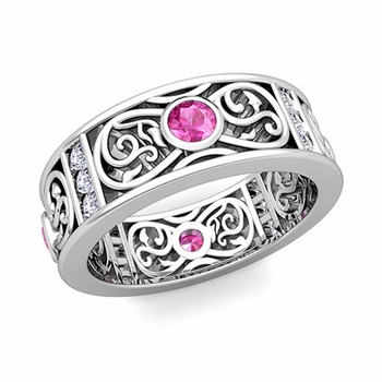 Diamond and Pink Sapphire Celtic Knot Wedding Band Ring in Platinum, 7.5mm