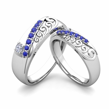 Matching Wedding Band in Platinum Unique Diamond and Sapphire Wedding Rings