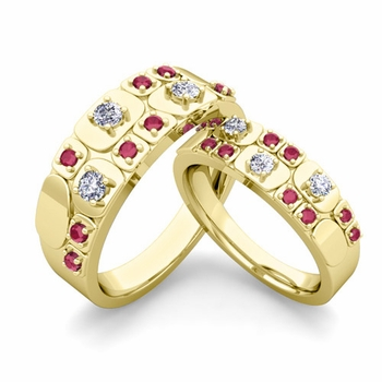 Matching Wedding Ring in 18k Gold Plaid Diamond and Ruby Wedding Band