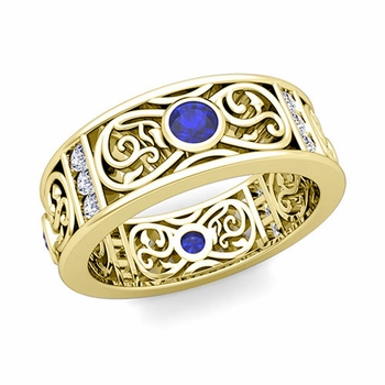 Diamond and Sapphire Celtic Knot Wedding Band Ring in 18k Gold, 7.5mm